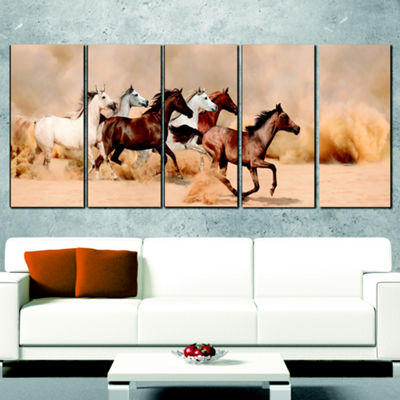 Designart Herd Gallops In Sand Storm Photography Canvas ArtPrint - 5 Panels