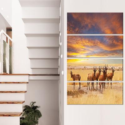 Designart Herd Of Antelope In Etosha Park AfricanLandscapeCanvas Art Print - 4 Panels