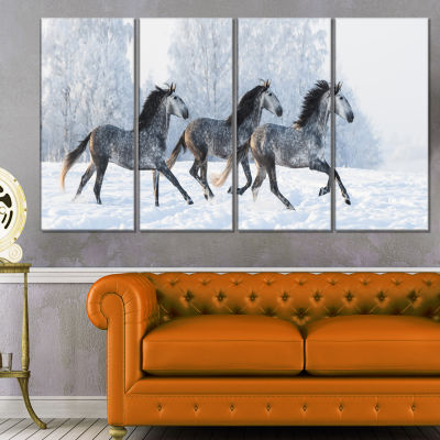 Herd Of Horses Run Across Snow Landscape Print Wall Artwork - 4 Panels