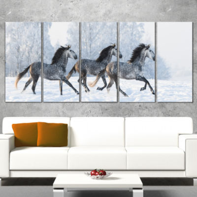 Herd Of Horses Run Across Snow Landscape Print Wall Artwork - 5 Panels