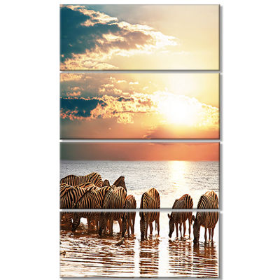 Designart Herd Of Zebras In Clear Lake African Landscape Canvas Art Print - 4 Panels