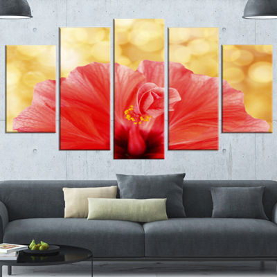 Designart Hibiscus Flower With Lit Up Background Large Floral Wrapped Canvas Artwork - 5 Panels