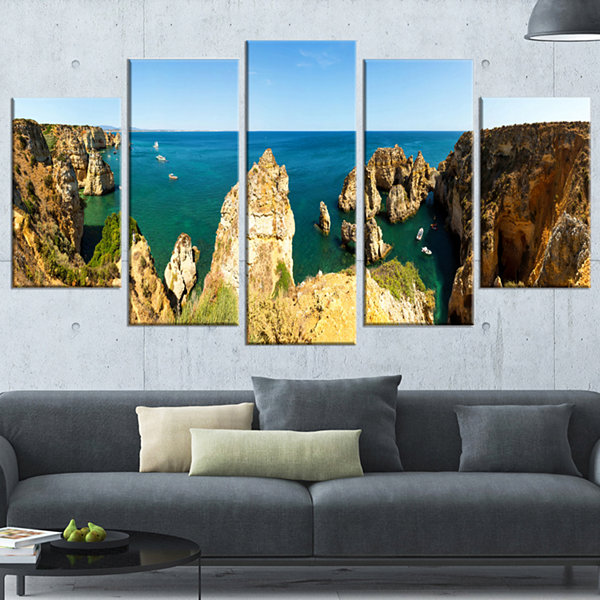 Designart High Cloudy Mountains Panorama OversizedBeach Wrapped Canvas Artwork - 5 Panels