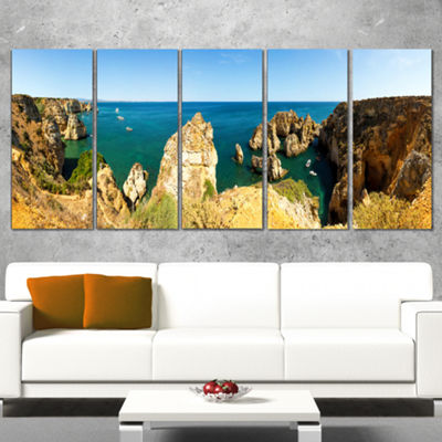 Designart High Cloudy Mountains Panorama OversizedBeach Canvas Artwork - 5 Panels