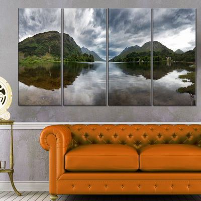 Highland Mirrored In Calm Waters Landscape CanvasArt Print - 4 Panels