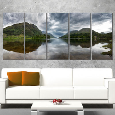 Designart Highland Mirrored In Calm Waters Landscape WrappedCanvas Art Print - 5 Panels
