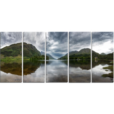 Highland Mirrored In Calm Waters Landscape CanvasArt Print - 5 Panels