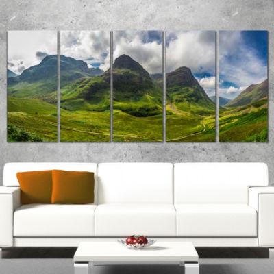 Designart Highly Green Scottish Highlands Landscape Canvas Art Print - 5 Panels