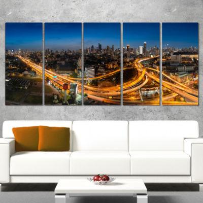 Designart Highway And Main Traffic Bangkok Cityscape CanvasPrint - 4 Panels