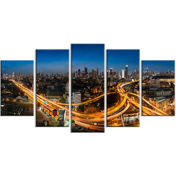 Designart Highway And Main Traffic Bangkok Cityscape WrappedCanvas Print - 5 Panels