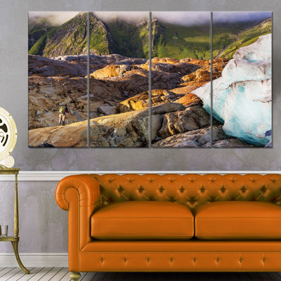 Designart Hike In Norway Mountains Landscape Canvas Art Print - 4 Panels