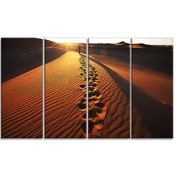 Hikers Footprints In Namib Desert Extra Large Landscape Canvas Art - 4 Panels