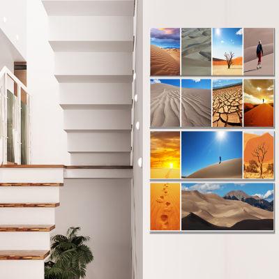Designart Hiking In Desert Collage African Landscape CanvasArt Print - 4 Panels