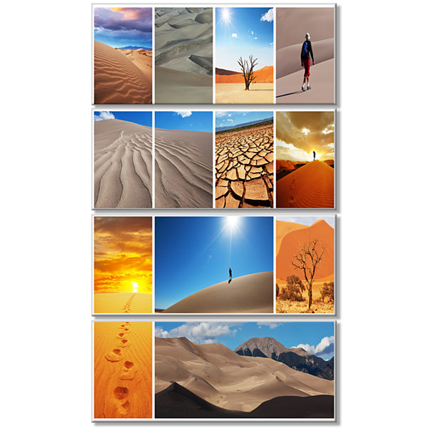 Hiking In Desert Collage African Landscape CanvasArt Print - 4 Panels