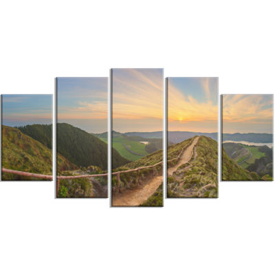 Designart Hiking Trail And Beautiful Lakes Contemporary Landscape Wrapped Canvas Art - 5 Panels