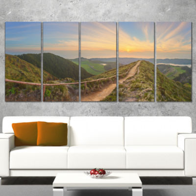 Hiking Trail And Beautiful Lakes Contemporary Landscape Wrapped Canvas Art - 5 Panels