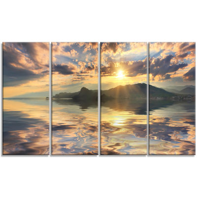 Hill Overlooking The Seaside Town Landscape CanvasArt Print - 4 Panels