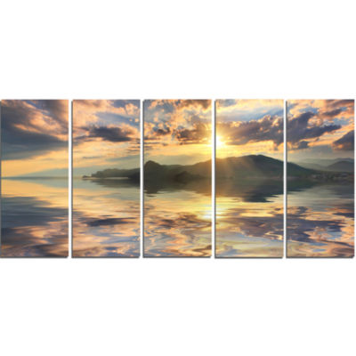 Hill Overlooking The Seaside Town Landscape CanvasArt Print - 5 Panels
