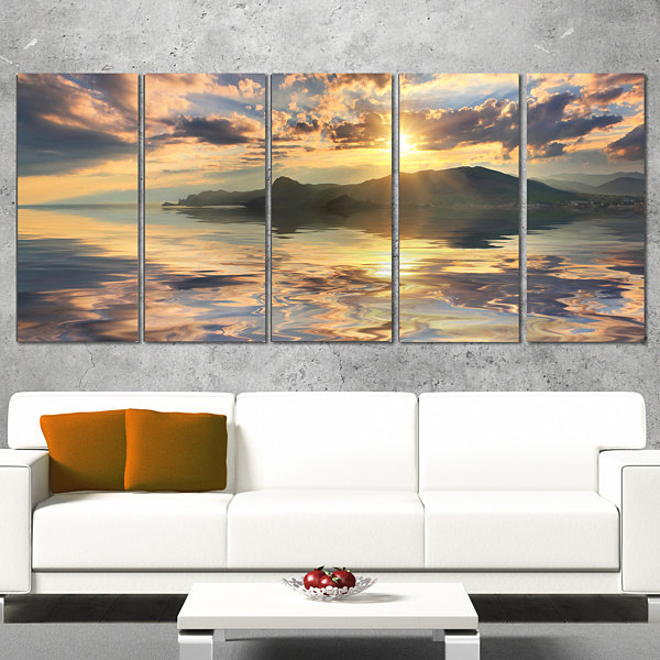 Designart Hill Overlooking The Seaside Town Landscape CanvasArt Print - 5 Panels