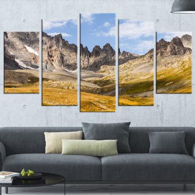 Designart Hills And Valleys In Golden Morning Landscape Photography Canvas Print - 4 Panels