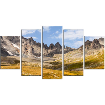 Designart Hills And Valleys In Golden Morning Landscape Photography Wrapped Canvas Print - 5 Panels