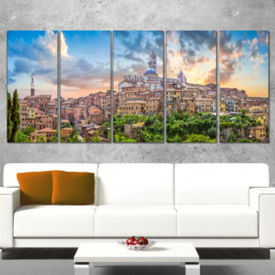Historic City Of Siena Panoramic View Landscape Canvas Art Print - 4 Panels