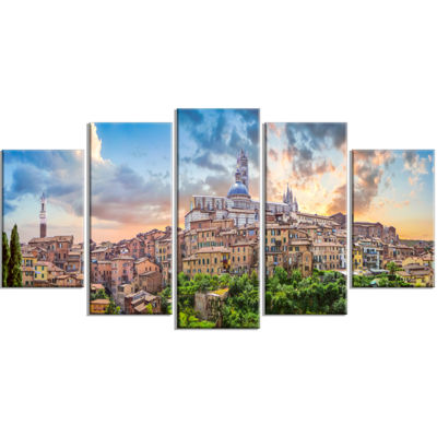 Designart Historic City Of Siena Panoramic View Landscape Wrapped Canvas Art Print - 5 Panels