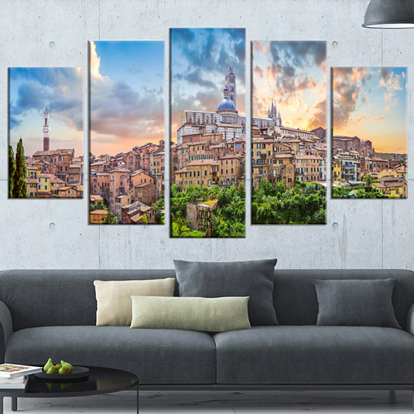 Historic City Of Siena Panoramic View Landscape Wrapped Canvas Art Print - 5 Panels
