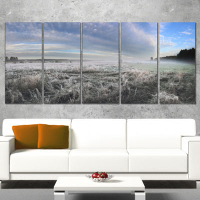 Hoarfrost On Grass Under Cloudy Sky Landscape Print Wall Artwork - 5 Panels