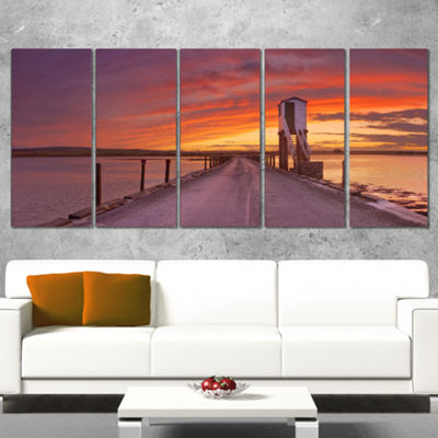 Designart Holy Island Of Lindisfarne Panorama Wooden Sea Bridge Canvas Wall Art - 4 Panels