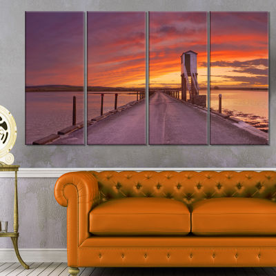 Holy Island Of Lindisfarne Panorama Wooden Sea Bridge Canvas Wall Art - 4 Panels