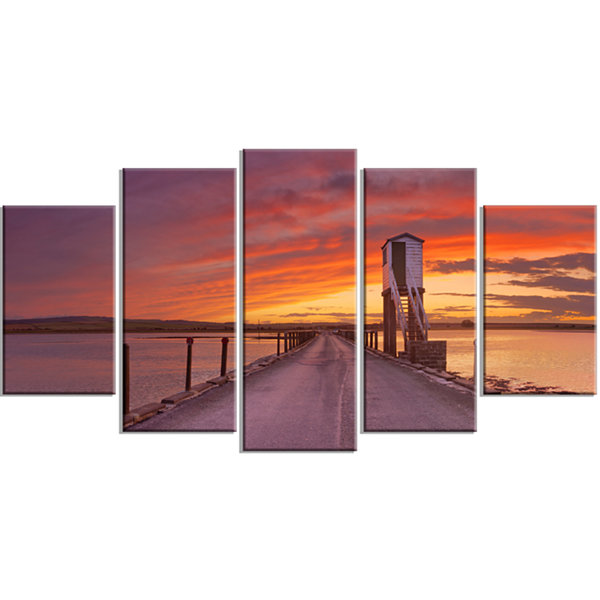 Designart Holy Island Of Lindisfarne Panorama Wooden Sea Bridge Wrapped Canvas Wall Art - 5 Panels