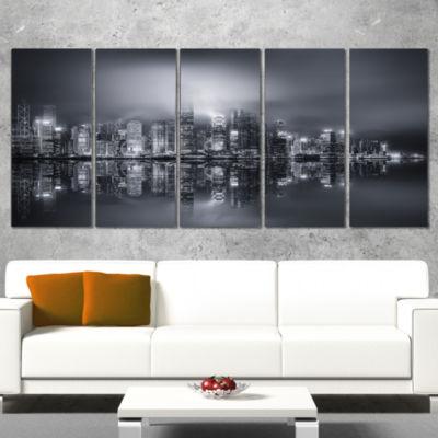 Hong Kong Black And White Panorama Cityscape Canvas Art Print - 4 Panels