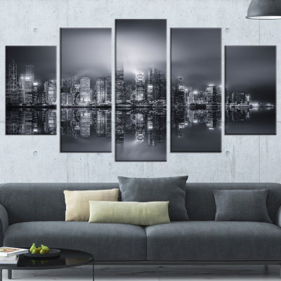 Hong Kong Black And White Panorama Cityscape Wrapped Canvas Art Print - 5 Panels