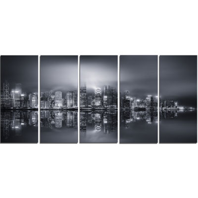 Designart Hong Kong Black And White Panorama Cityscape Canvas Art Print - 5 Panels