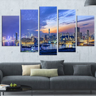 Designart Hong Kong City Sunset Panorama CityscapeWrapped Canvas Art Print - 5 Panels