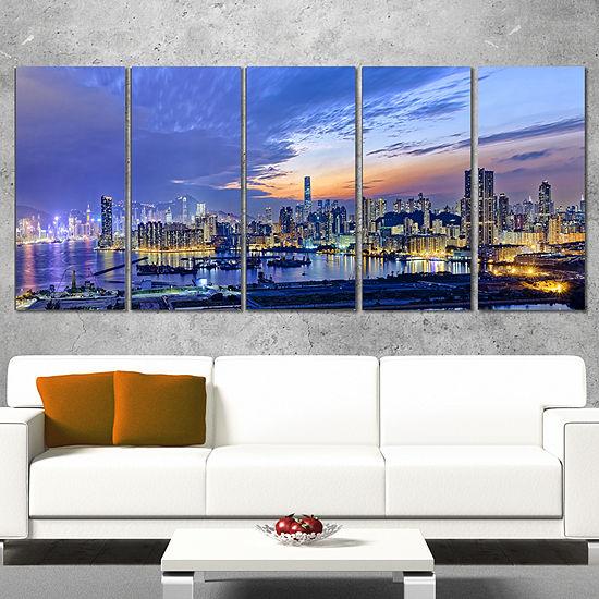 Designart Hong Kong City Sunset Panorama CityscapeCanvas Art Print - 5 Panels