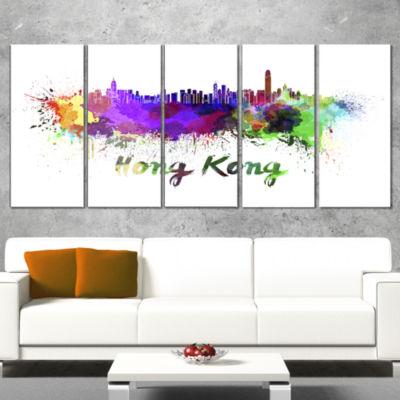 Designart Hong Kong Skyline Cityscape Canvas Artwork Print -5 Panels