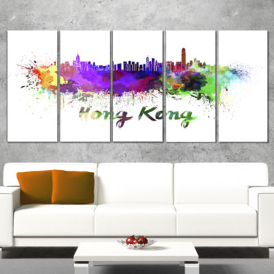 Designart Hong Kong Skyline Large Cityscape CanvasArtwork Print - 5 Panels