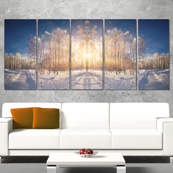 Designart Horizontally Flipped Winter Land Landscape CanvasArt Print - 4 Panels