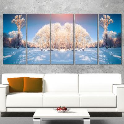Designart Horizontally Flipped Winter Trees ExtraLarge Seashore Canvas Art - 4 Panels