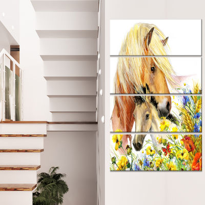 Horse And Foal With Meadow Animal Canvas Art Print- 4 Panels