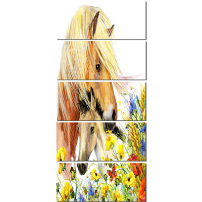 Designart Horse And Foal With Meadow Animal CanvasArt Print- 5 Panels
