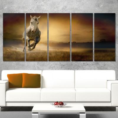 Designart Horse Galloping Through Valley Animal Canvas WallArt - 4 Panels
