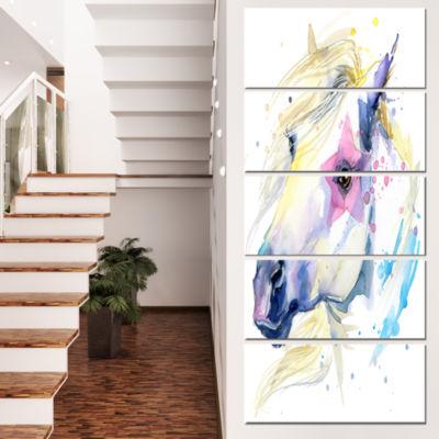 Designart Horse Illustration With Splash Animal Canvas Art Print - 5 Panels