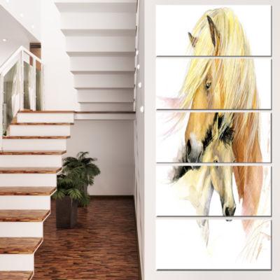 Designart Horse Mom Baby Watercolor Animal CanvasArt Print- 5 Panels