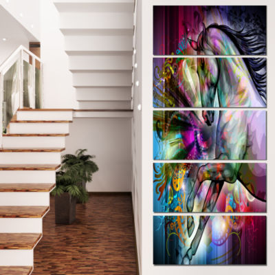 Designart Horse Over Colorful Abstract Image Animal Canvas Wall Art - 5 Panels