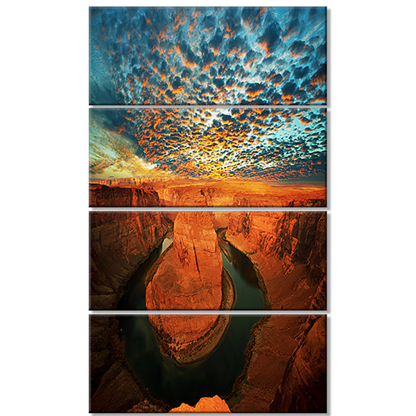 Horse Shoe Bend Under Stormy Sky Oversized Landscape Canvas Art - 4 Panels