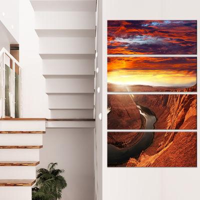Horse Shoe Bend Under Sunset Sky Extra Large Landscape Canvas Art - 4 Panels