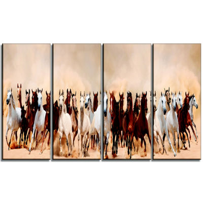 Designart Horses Herd In Sand Storm Landscape Photography Canvas Art Print - 4 Panels